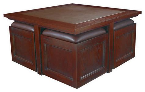 Storage Cube Coffee Table Hammary Kanson Cocktail Table W Storage Cubes In Oxblood Finish Contemporary Coffee Tables