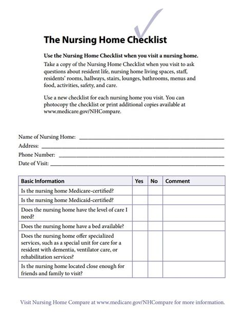 medicare nursing home checklist for caregivers