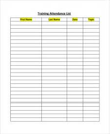attendance register template sle attendance list template 9 free documents