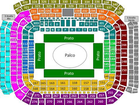 stadio san siro mappa posti a sedere biglietti concerto fedez e j ax venerd 236 01 giugno 2018