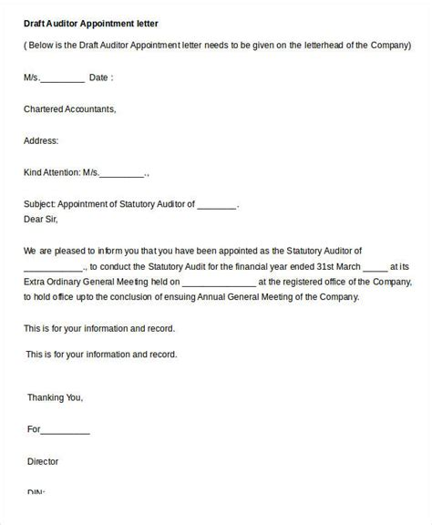 appointment letter format for tax auditor appointment letters 18 free word pdf documents