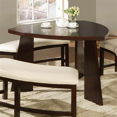 triangle dining table with bench furniture triangle shaped tables with flower decoration