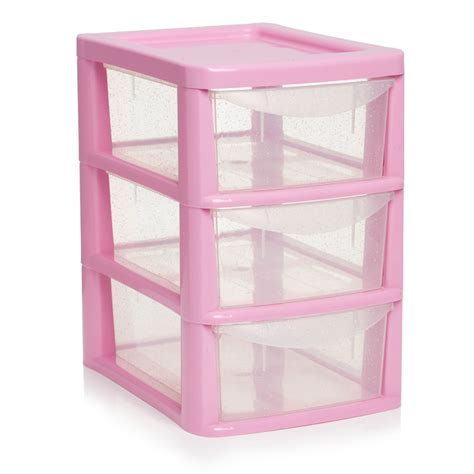 Pink Plastic Drawers Storage by Wilko 3 Drawer Tower Small Pink At Wilko
