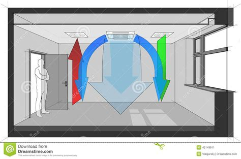room to room fan wall fan coil unit diagram stock vector image 42149911