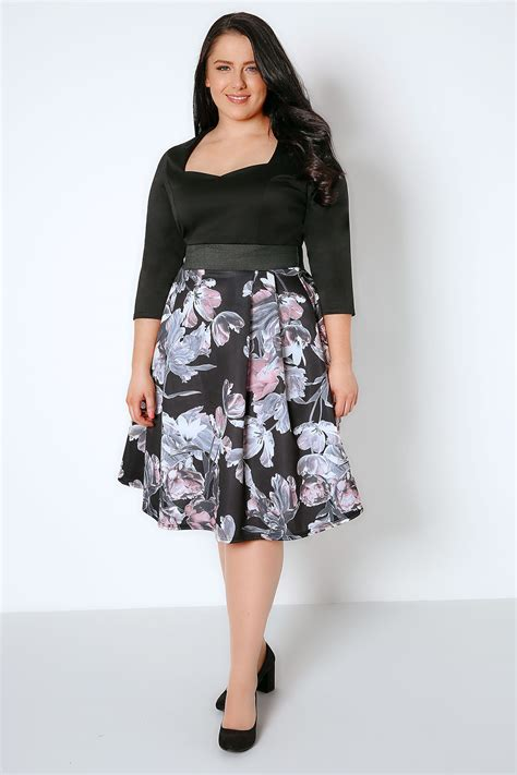 Floral Sleeve Midi Dress black pink floral 2 in 1 midi dress with 3 4 sleeves