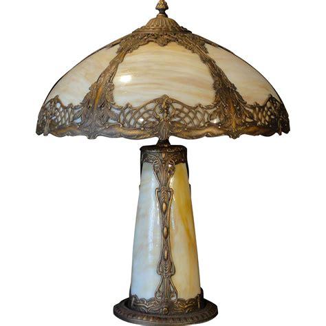 lighted base for glass sculpture large gorgeous art nouveau weeping leaf slag glass lighted