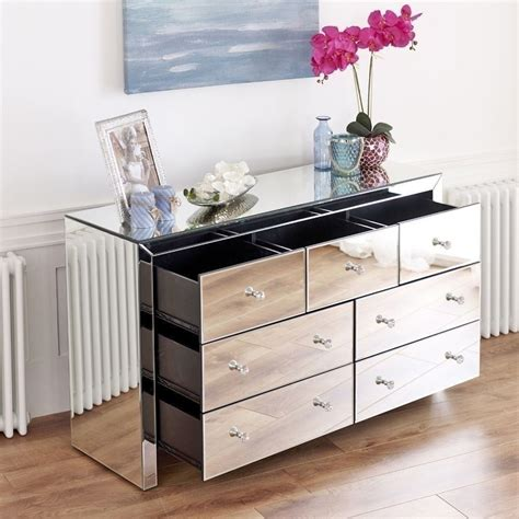 mirrored chest  drawers side board contemporary silver glass bedroom furniture ebay