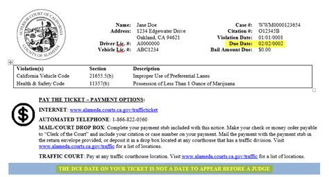 Alameda Superior Court Records What Is The Citation Due Date County Of Alameda