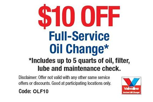 coupons for valvoline instant oil change