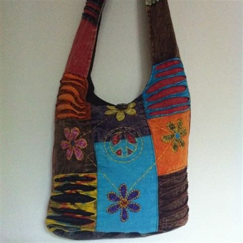 Handmade Hippie Bags - peace patchwork hippie hobo bag purse handmade nepal