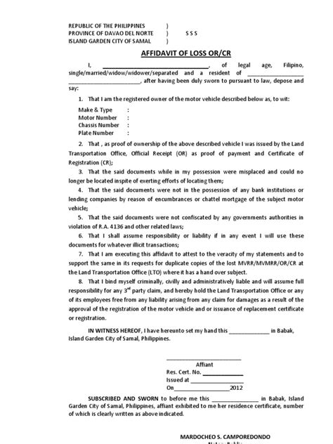 Business Letter Exle In Philippines Affidavit Of Loss Lto Format Affidavit Philippines