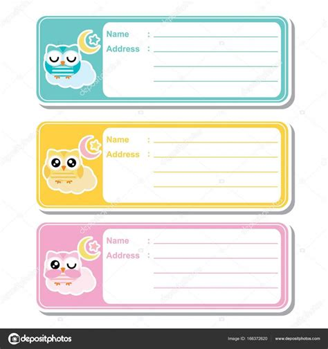 html layout naming address label vector cartoon with cute owls on colorful
