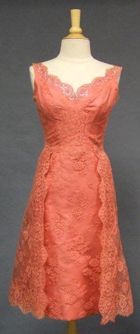 salmon colored dress salmon colored lace cocktail dress american c 1960 s