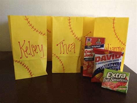 end of the year softball goody bags gift ideas