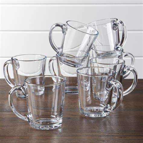 Tempo Clear Glass Coffee Mug Set of 8   Crate and Barrel