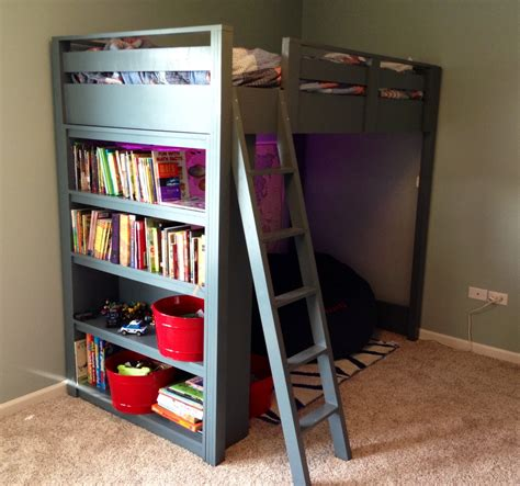 ana white loft bed  shelves diy projects