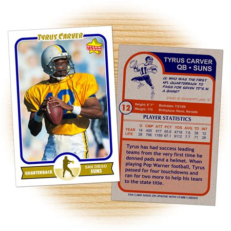 football player card template custom football cards retro 75 series cards