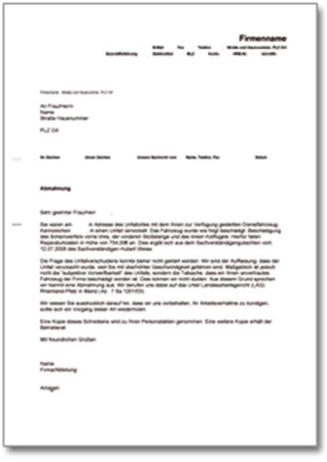 Musterbrief An Versicherung Wegen Unfall Abmahnung Wegen Eines Unfalls Mit Einem Dienstwagen De Musterbrief