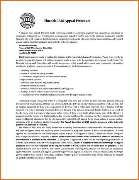 Financial Aid Warning Letter how to write a financial aid appeal letter