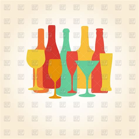 alcohol vector silhouettes of alcohol bottles and glasses royalty free