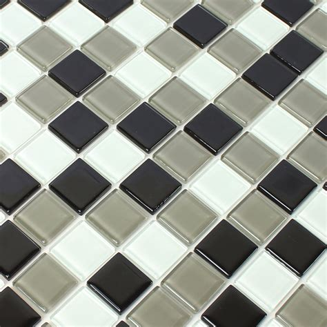 self adhesive glass mosaic tiles black grey tm33436