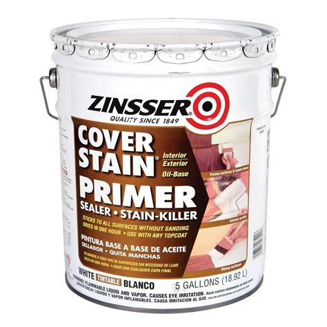 zinsser 5 gal cover stain white flat primer 3600 the