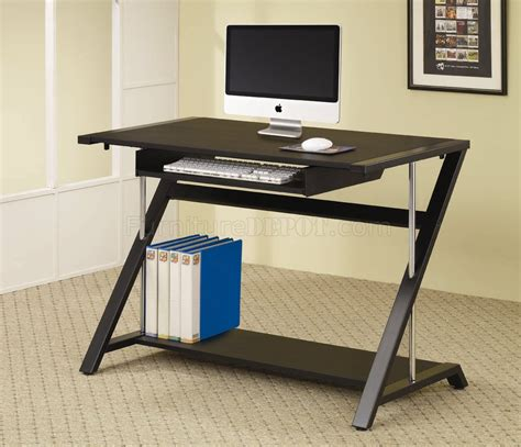 black finish modern home office desk w chrome support