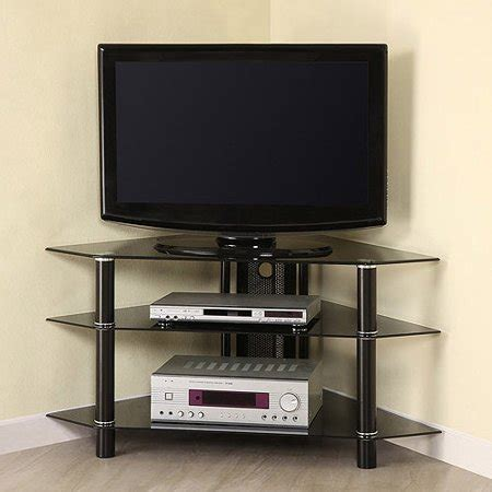 Glass/Metal Corner Clear/Silver TV Stand for TVs up to 48 ... W 6564 W