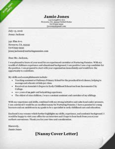 Nanny Release Letter Nanny Resume Sle Writing Guide Resume Genius