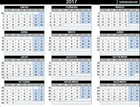 Calendario 2018 Semanas Calendario 2017 Con Semanas Numeradas Para Imprimir