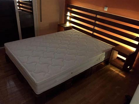 pallet headboard for bed diy pallet bed with shelved headboard 101 pallets