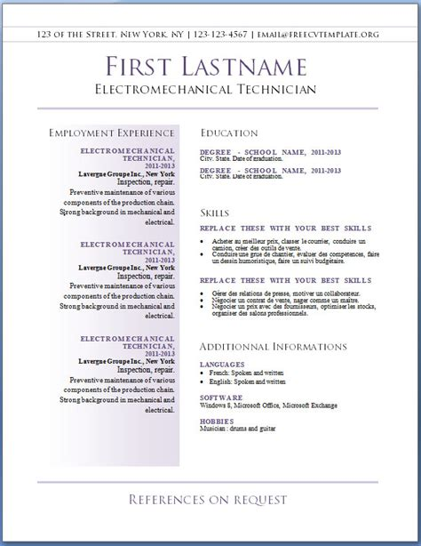 Free Resume Template For Word 2010 by Free Cv Templates 36 To 42 Free Cv Template Dot Org