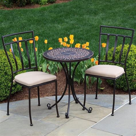 Alfresco Home Vulcano 2 Person Wrought Iron Patio Bistro Wrought Iron Patio Table Set