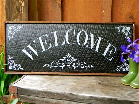Handmade Garden Signs - welcome sign handmade wood signs home and garden by