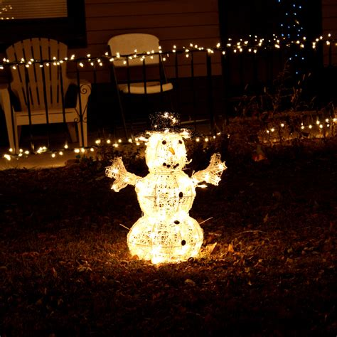 snowman white christmas lights picture free photograph
