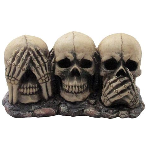 skull house decor no evil skulls figurine scary halloween decorations spooky skeleton statues home ebay
