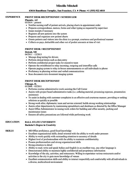 Front Desk Resume by Front Desk Receptionist Resume Sles Velvet