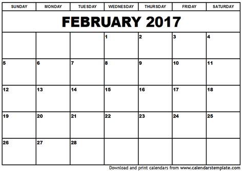 Calendar For February February 2017 Calendar Template