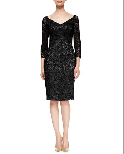 Lace Sleeve Cocktail Dress lyst helen morley 3 4 sleeve floral lace cocktail dress