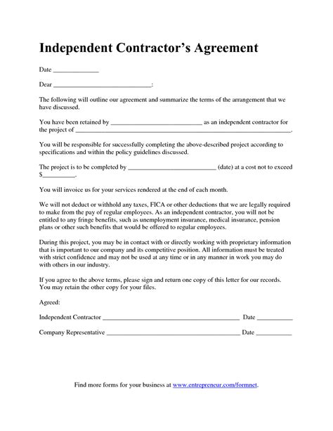free independent contractor contract template independent contractor agreement gallery