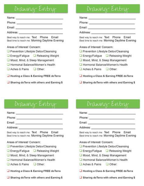printable doterra recipes door prize drawing template door prize doterra
