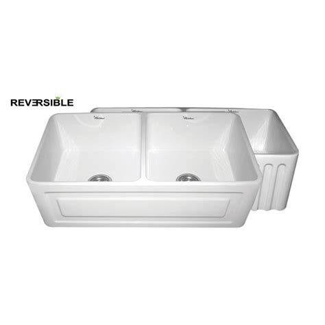 Shop Whitehaus Collection Farmhaus 18 In X 33 In White White Apron Front Kitchen Sink