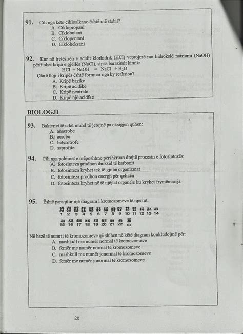 testo i testi i arritshmerise pyetjet kimi dhe biologji m 235 so shqip