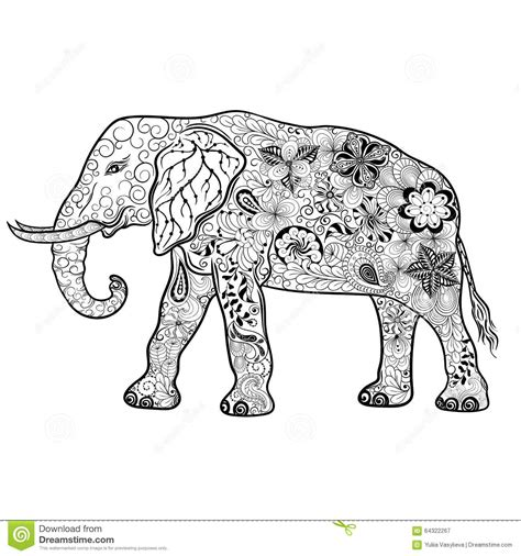 indian elephant doodle elephant doodle stock vector image 64322267