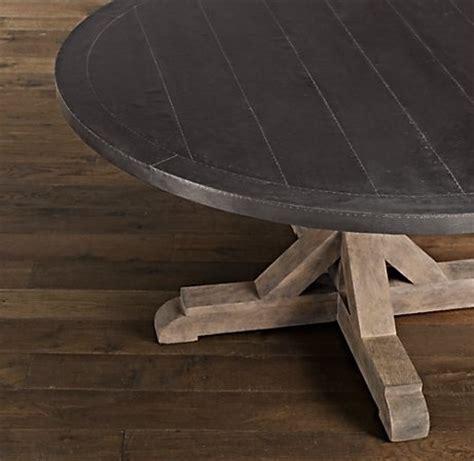 restoration hardware zinc table restoration hardware railroad tie round dining table