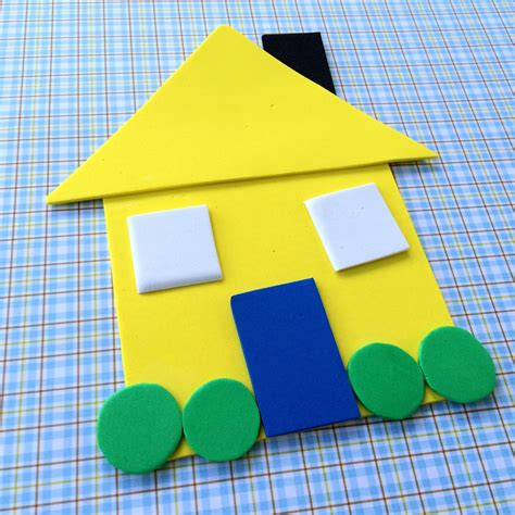 shapes crafts for family shape house educational craft