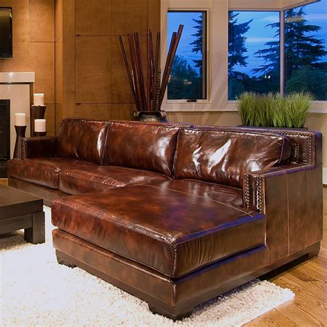 davis leather chair and sectional set with right facing