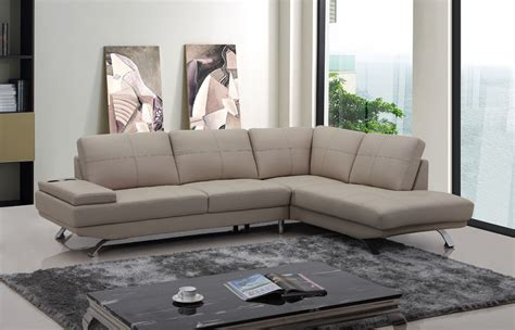 Divani Casa Knight Modern Beige Leather Sectional Sofa Beige Leather Sectional Sofa