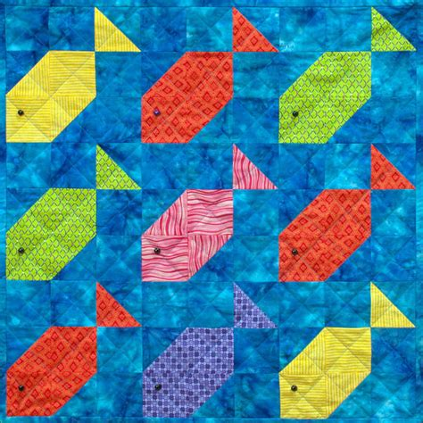 Patchwork Fish Pattern - fishy nine patch patchwork quilt block pattern