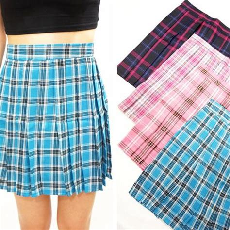 blue plaid pleated skirt xs on luulla